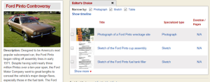 Screenshot of Engineering Case Studies Online, showing coverage of the Ford Pinto controversy