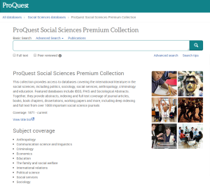 screenshot of proquest
