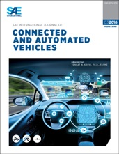 "Cover of ""Connected and Automated Vehicles"" journal, showing a car dashboard with futuristic graphics"
