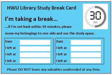 Study Break cards